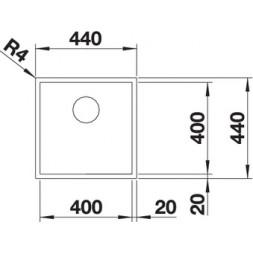 Кухонная мойка Blanco ZEROX 400-U нерж.сталь Durinox® с отв. арм. InFino®