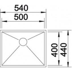 Кухонная мойка Blanco ZEROX 500-U нерж.сталь Durinox® с отв. арм. InFino®