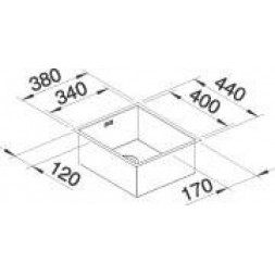 Кухонная мойка Blanco ZEROX 340-U нерж.сталь Durinox® с отв. арм. InFino®