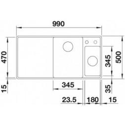 Кухонная мойка Blanco Axia III 6 S-F SILGRANIT PuraDur (темная скала)