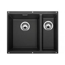 Мойка для кухни Blanco SUBLINE 340/160-U SILGRANIT антрацит с клапаном-автоматом (чаша слева)