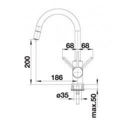 Смеситель Blanco MIDA-S (гранит) алюметаллик SILGRANIT™ puradur™ II – 521456